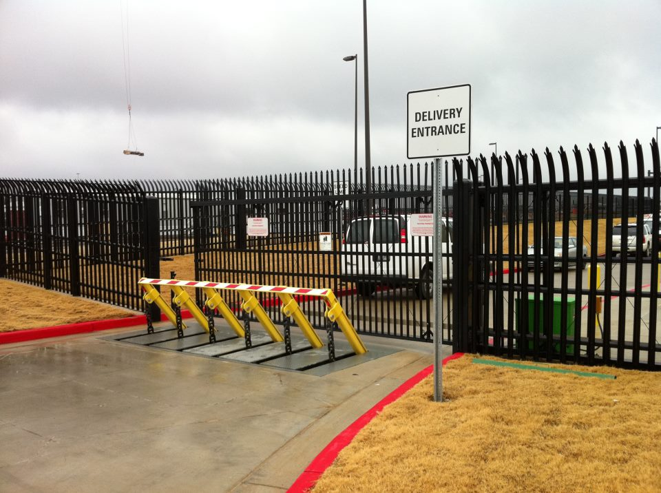 pop up bollards along with high security fencing is a great combination for high level security systems